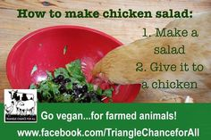 The perfect chicken salad: Vegetarian Quotes, Vegan Quotes, Vegetarian Lifestyle, Vegan Vegetarian, Vegan Memes, Vegan Humor, List Of Salads, Vegan Chicken Salad, Why Vegan