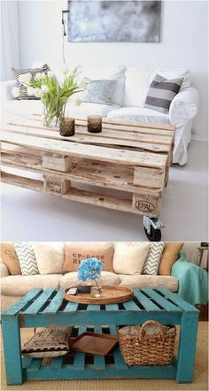 12 easiest and great looking pallet sofas and coffee tables that one can make in just an afternoon. Detailed tutorials and lots of great resources! - A Piece Of Rainbow (diy pallet sofa) Diy Pallet Sofa, Wooden Pallet Projects, Wooden Pallet Furniture, Pallet Wood, Wood Pallets, Rustic Furniture, Pallett Garden, Antique Furniture, Pallet Table Outdoor