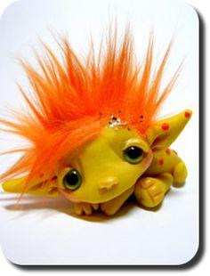 Polka-Dot-Dragon-Baby Trollfling Troll named Corie by CDHM Artisan Amber Matthies of The Trollflings Trolls, www.cdhm.org/user/trollgirl