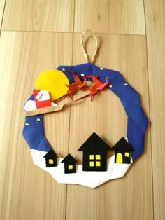 ハンドメイド 折り紙 リース クリスマス サンタ 冬 壁面飾り