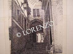 Chinchilla, Arco calle. Dibujo a plumilla sobre papel