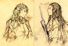 Oropher+Gil-galad by vampiry.deviantart.com on @deviantART --- FINALLY, some fan art of Thranduil's dad (Legolas's grandfather)!
