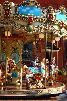 Vintage Merry-go-round horses and other animals for kids.