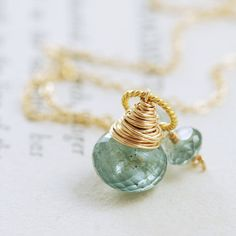 March Birthstone Jewelry Moss Aquamarine Necklace Wrapped in 14k Gold Fill, Teal Green Gemstone Pendant, aubepine on  Etsy