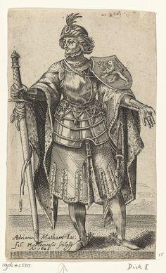 Portret van Dirk I, graaf van Holland, Adriaen Matham, 1620