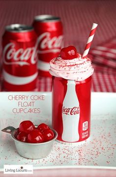 Cherry Coke Float Chocolate Cupcakes in Coca-Cola Cans. Such a cute party idea! LivingLocurto.com