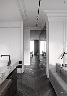 PARIS elegant home chic home wall molding walldesign white walls parquet Classic Interior, Modern Interior Design, Interior Architecture, Bedroom Classic, Apartment Interior, Apartment Design, Apartment Kitchen, Home Modern, Piece A Vivre