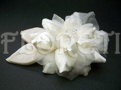 Antique White Camellia Bridal Wedding Dress Flower Leaves Swarovski | Floreti - Wedding on ArtFire