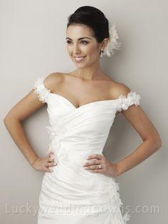 Off-the-shoulder Amazing Taffeta Summer Wedding Dress with Silk Flowers