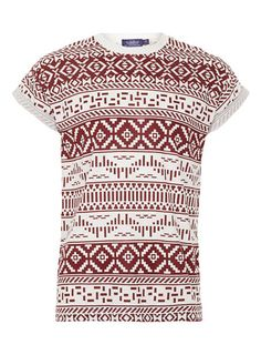 WHITE & BURGUNDY PATTERNED PRINTED T-SHIRT - Men's T-Shirts & Vests  - Clothing