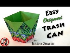 Easy Origami Trash Can (no music) - YouTube