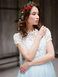 Blue wedding dress with short sleeves Ilaria