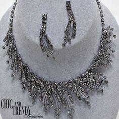 """FALLING STARS""GLASS BLACK  Rhinestone Necklace Set WEDDING,FORMAL*CHIC"