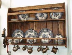 Platero de madera maciza rustico mueble de 150 de ancho for Plateros para cocina