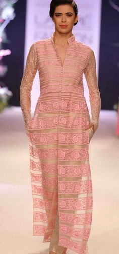 love the sheer pink kurta and nude cigarette pants combo!!!
