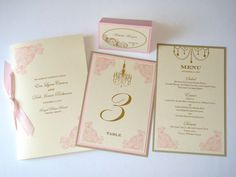 Eva Coordinating Vintage Wedding Reception Items - Menu, Table Number, Program and Place card Sample Set - Ivory, Gold and Pink, $20.00