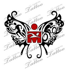 Marketplace Tattoo SBink Ironman Triathlon Butterfly #10276 | CreateMyTattoo.com