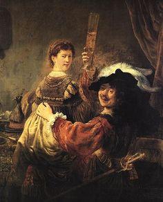 Rembrandt Harmensz. van Rijn Autoportret z Saskią na kolanach, 1635,  olej na płótnie, Gemaeldegalerie, Drezno