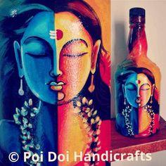 Glass Bottle Crafts, Diy Bottle, Bottle Art, Bottle Painting, Diy Painting, Lotus Drawing, Kerala Mural Painting, Clay Fish, African Art Paintings