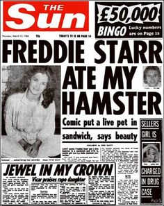 Freddie Starr Ate My Hamster (AKA AP discussions - Adrian Dingle's Chemistry Pages Funny Headlines, Newspaper Headlines, Headlines Today, News Corp, Ap Chemistry, Headline News, Copywriting, Writing Tips, Stone