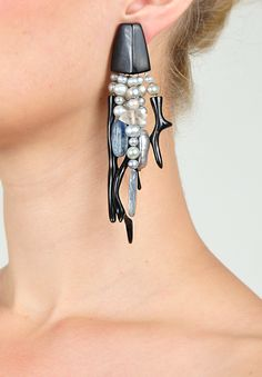Monies Pearl, Coral, Quartz & Ebony Clip on Earring