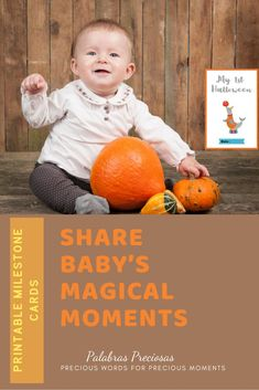 This Halloween capture your little one with these milestone cards.  A set of 24 available in English and Spanish. #halloween #myfirsyhalloween #magicalmoments #makingmemories #babymilestones