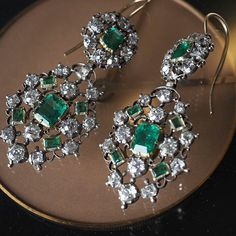 Gorgeous Pair Of Early Victorian Emerald And Diamond Earrings