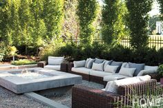 An outdoor oasis created by landscape architect Gregory Lombardi. Photo by Keller + Keller Outdoor Rooms, Outdoor Gardens, Outdoor Living, Outdoor Decor, Outdoor Ideas, Outdoor Seating, Fire Pit Materials, Concrete Fire Pits, Fire Pit Backyard