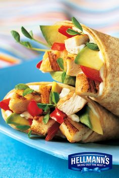 Here's a lunch idea that's both easy and light. Try adding these BLT Chicken Avocado Wraps to this week's lunchbox menu, made delicious with Hellmann's Light Mayonnaise.