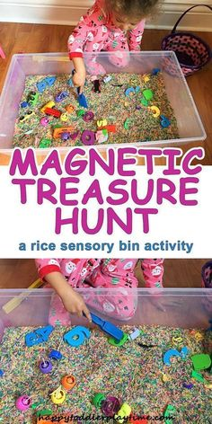 Treasure Hunt Magnetic Treasure Hunt – HAPPY TODDLER PLAYTIME -A fun and simple to set up rice sensory bin, where your toddler or preschooler can explore the magic of magnets.Playtime Is Over Playtime Is Over or Playtime's Over may refer to: Preschool Science, Preschool Classroom, Science Activities, Kindergarten, Alphabet Activities, Motor Activities, Toddler Learning Activities, Infant Activities, Sensory Boxes