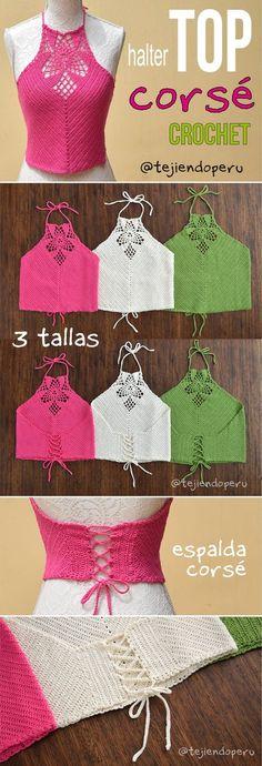Discover thousands of images about Halter top con granny modelo corsé tejido a crochet: ¡paso a paso en video tutorial! Top Tejidos A Crochet, T-shirt Au Crochet, Mode Crochet, Crochet Shirt, Crochet Woman, Crochet Crafts, Crochet Baby, Crochet Flower, Crochet Halter Tops