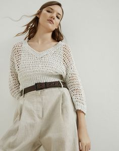 V-neck Sweater - Woman Brunello Cucinelli Fashion Creator, Blusas Top, Summer Knitting, Knitwear Fashion, Crochet Blouse, Brunello Cucinelli, Knitting Designs, Cool Suits, Pulls