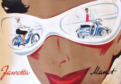 Poster design for the Czechoslovak exporter of mopeds, scooters and motorcycles. Photo by courtesy of Mr and Mrs Nezval. Vespa S, Aesthetic Value, Scooter Girl, Old Bikes, Manet, Sloth, Photo Art, Graphic Art, Advertising