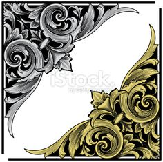 Arabesque Corner Engraving Royalty Free Stock Vector Art Illustration