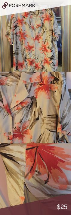 Top 🌴🌴 Floral print shirt. Great for the coming spring time. Button front and side slits at hem of shirt. Very comfy slightly fitted with seaming in back and front. Fabric is 100% silk.🌴🌴 🌺🌺 thank you for visiting my closet 🌺🌺 Valerie Stevens Tops Button Down Shirts