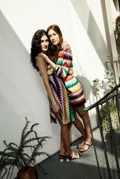 Missoni Dresses in degradé zig-zag fabric from the Women's Spring 2015 collection. Tordini sisters.