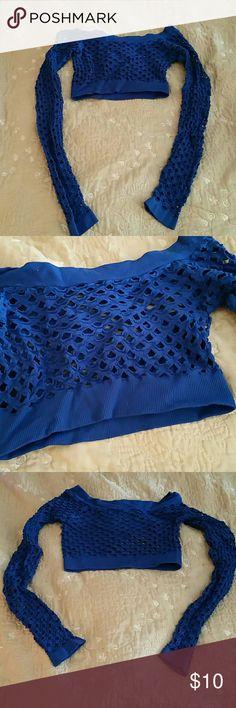Fishnet Crop Top Royal blue fishnet long-sleeved crop top. Tops Crop Tops
