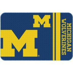Ncaa Michigan Wolverines 20 inch x 30 inch Round Edge Bath Rug, Blue