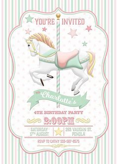 Carousel Invitation Pink Mint Birthday Party by WestminsterPaperCo