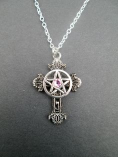 Five elements necklace wiccan necklace pagan necklace pagan small pink rhinestone christo pagan cross necklace aloadofball Gallery