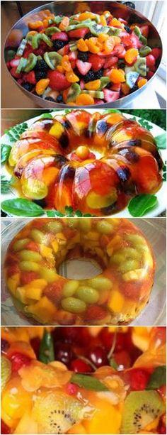 GELATINA DE FRUTAS,FICA TÃO LINDA E GOSTOSA…TODOS IRÃO GOSTAR AMOO❤️ VEJA AQUI>>>Retire a casca e pique as frutas escolhidas. Unte uma forma com buraco central com margarina e coloque as frutas picadas em camadas ou intercaladas até mais da metade da forma. #receita#bolo#torta#doce#sobremesa#aniversario#pudim#mousse#pave#Cheesecake#chocolate#confeitaria