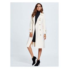 Beige Belted Trench Coat ($45) ❤ liked on Polyvore featuring outerwear, coats, double breasted belted coat, belted trench coat, beige coat, double breasted trench coat and lightweight coat