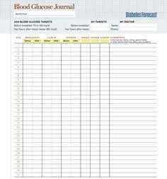 excel blood glucose log sheet