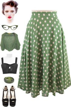 Brand new in store at Le Bomb Shop! 50's style mid-calf length full circle skirt.. find them here: http://www.ebay.com/itm/50s-Inspired-Rockabilly-PINUP-Green-POLKA-DOT-High-Waist-FULL-CIRCLE-SWING-Skirt-/121191707667?pt=US_CSA_WC_Skirts&var=&hash=item61d4cf4dd3