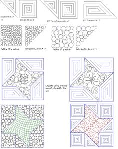 computerized digitized quilting patterns to fill a friendship star quilting block