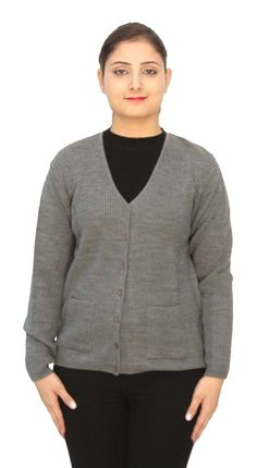 Romano Basic Grey 100% Wool Warm Winter Sweater Cardigan For Women * Instant Savings available here : Women's Fashion for FREE