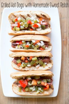 Hot Dogs with Homemade Relish ~ NEW 31 Days of Grilling Recipes | 5DollarDinners.com