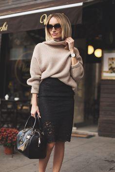 tricô com saia.