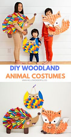 Diy halloween costumes 161637074118242124 - Find out how to make these cute DIY Woodland Animal Halloween costumes for kids. Cardboard and paper are mainly all you need to make this handmade fox costume, rainbow hedgehog costume and owl costume! Animal Costumes For Kids, Animal Halloween Costumes, Kid Costumes, Children Costumes, Handmade Halloween Costumes, Halloween Crafts, Halloween Halloween, Vintage Halloween, Halloween Makeup
