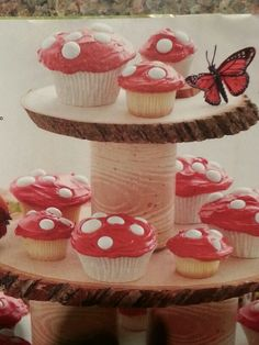 I like the wood cupcake stand.  From Parents Magazine